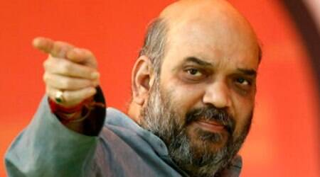 Shah arrived with a convoy of six cars with central security forces and officers deployed by the Ahmedabad police.
