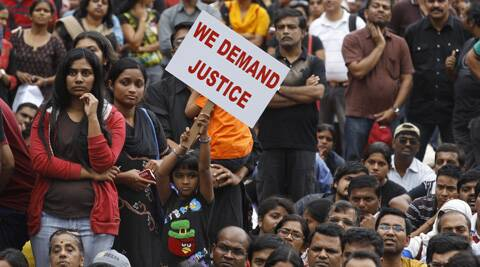 Public protests in Bangalore after the rape of a 6-year old in a private school.