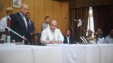 N Biren Singh takes oath as Manipur's first BJP chief minister, NPP MLA Joykumar is deputy CM