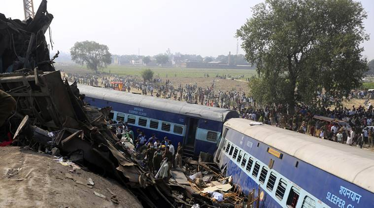 Resque works is in full swing after Patna Endore exxpress derail at pukhrayan village near kanpur on sunday.Express photo by Vishal Srivastav 20.11.2016