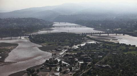 An aerial view of the banks of the Tawi River that was damaged in the floods on the outskirts of Jammu, India, Sunday, Sept.7, 2014. (Source: AP)