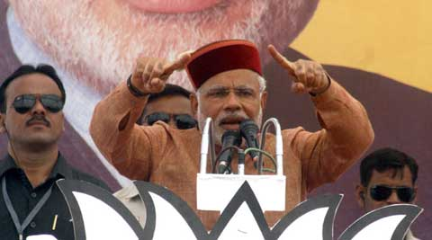 Narendra Modi has maintained an aggressive tone for his rivals in Uttar Pradesh and Bihar. (Express Photo)