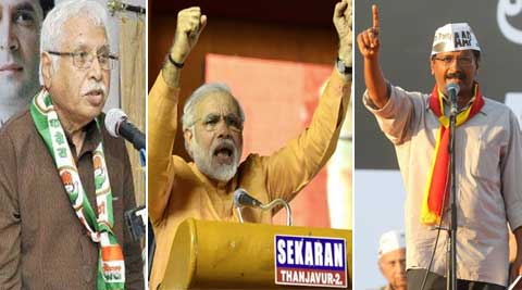 Narendra Modi will face Arvind Kejriwal in Varanasi and Madhusudan Mistry in Vadodara.