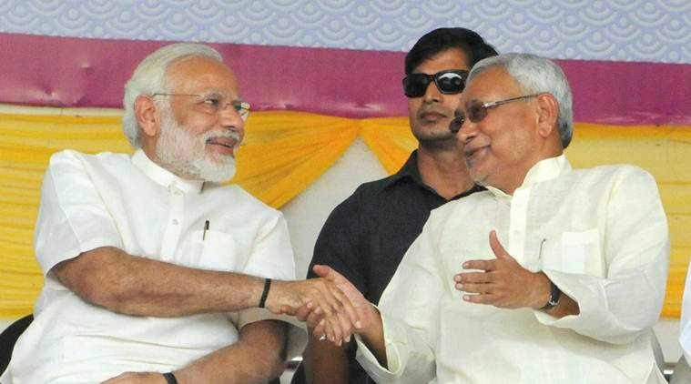 Image result for Modi, Nitish share stage, Modi lays foundation of Rs 3,700 cr projects