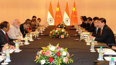 Prime Minister Narendra Modi and Chinese President Xi Jinping along with other officials during their meeting. (Source: @PMOIndia)