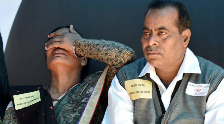 Narbhaya's parents Badrinath Singh and Asha Devi at a programme to observe the third anniversary of Nirbhaya gang-rape case as 'Nirbhaya Chetna Divas' at Jantar Mantar in New Delhi on Wednesday. (Source: PTI)