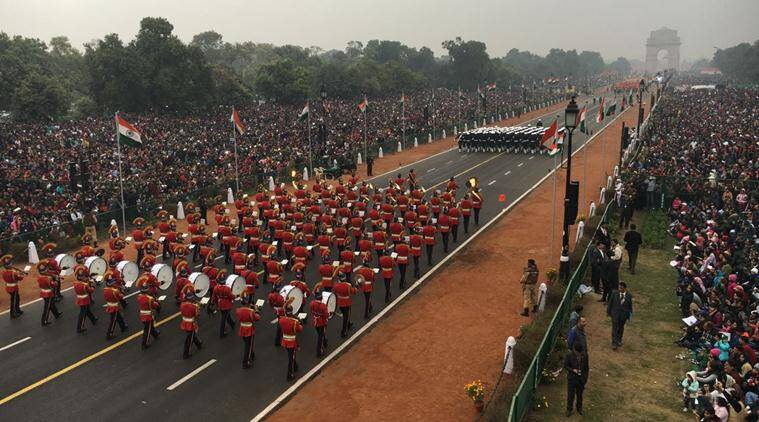 Military contingents marching on Rajpath at the Republic Day parade on Thursday (Express photo)