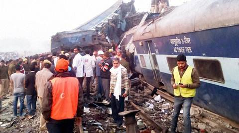 Kanpur: Rescue officials on the spot where 14 coaches of the Indore-Patna express derailed, killing around 90 people and injuring 150, in Kanpur Dehat on Sunday. PTI Photo(PTI11_20_2016_000008B)