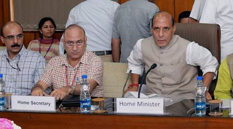 Union Home Minister Rajnath Singh at a meeting with the Chief Secretaries and DGPs of LWE (Left Wing Extremism) affected States, in New Delhi on Friday. (Source: PTI)