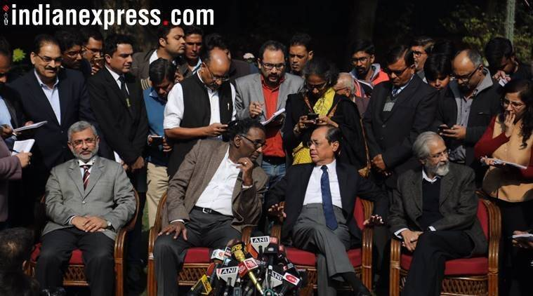 Justice Chelameswar Ranjan Gogoi Madan Lokur and Kurian Joseph at the press conference