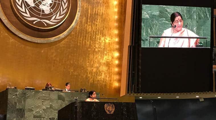 sushma swaraj live updates, Sushma swaraj, sushma swaraj UNGA address, UN General Assembly, sushma swaraj un address,External Affairs Minister unga meet
