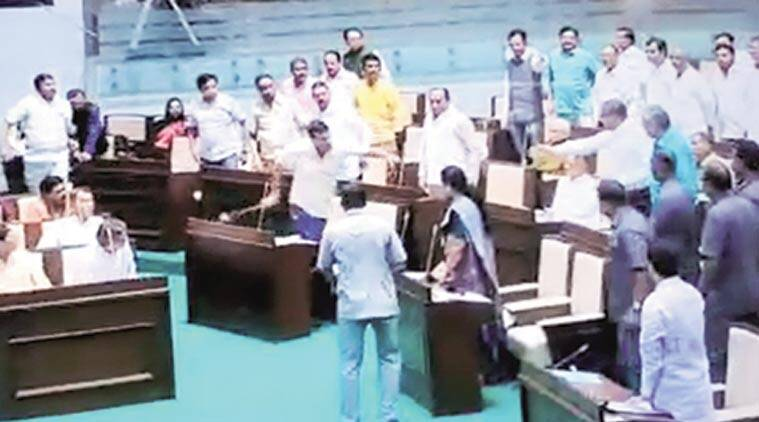 Three Congress MLAs suspended in Gujarat, ripped mike to attack