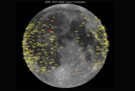 Meteoroid impact triggers bright flash on lunarsurface