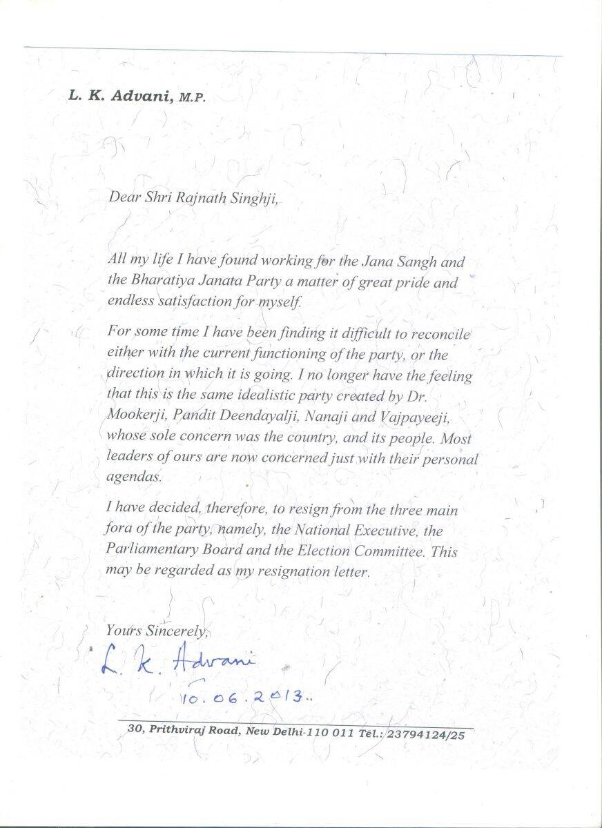 full text of l k advani s resignation letter to rajnath singh for all the latest news n express app now
