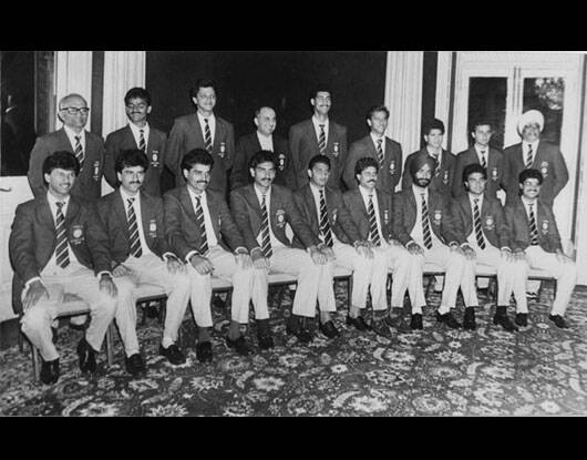 As Sachin Tendulkar celebrates his 40th birthday,here are a few unseen moments from his life.  Seen here is Indian team: Kiran More,Manoj Prabhakar,Dilip Vengaskar,Ravi Shastri,M. Azaharuddin,Kapil Dev,Navjot Singh Sidhu,Sanjay Manjrekar and Naerendra Hirmani. Raman,Dr Ali Irani,Atul Wasan,Sachin Tendulkar and Bishan Singh Bedi. (IE Photo)