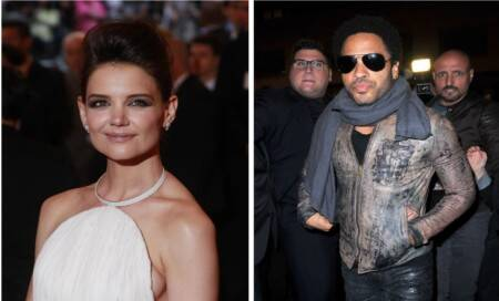 Katie Holmes sings with Lenny Kravitz at fundraiser