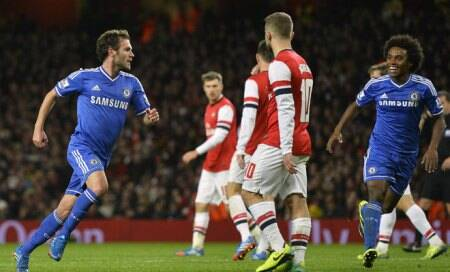 Chelsea into last eight with 2-0 victory at The Emirates
