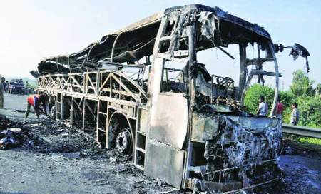 Bus blaze: Driver arrested,claims tyre burst led to mishap