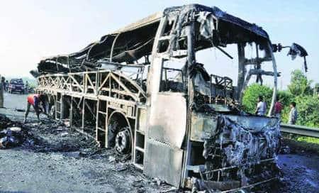 Bus blaze: Driver arrested,claims tyre burst led tomishap