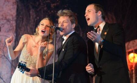 Prince William performs with Jon Bon Jovi,Taylor Swift