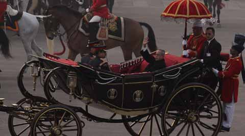 President Pranab Mukherjee arrives in a buggy for the Beating Retreat ceremony, in New Delhi on Wednesday. Express Photo by Prem Nath Pandey