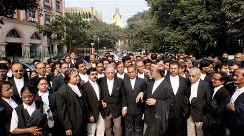 A silent rally outside the Calcutta High Court in favour of Justice Asok Kumar Ganguly. (AP)