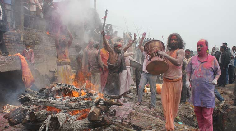 Holi celebrated at Manikarnika (shamshan) Ghat in Varanasi