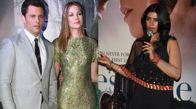 Michelle Monaghan, James Marsden with Ekta Kapoor at 'Best of Me' India premiere