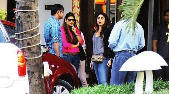 On the sets of Kareena, Ajay Devgn's 'Singham 2'