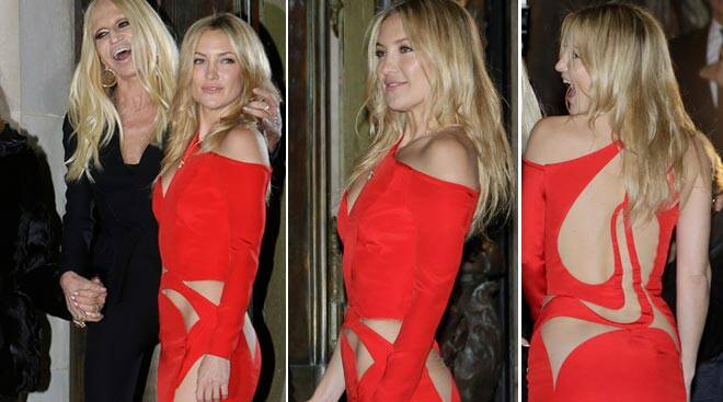Kate Hudson goes the risque route, displays toned body in red-hot cutout dress