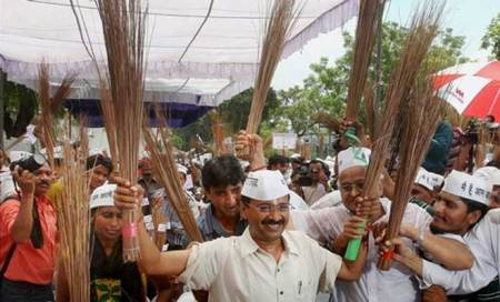 AAP on the rise: Won 28 seats,narrowly second in 20