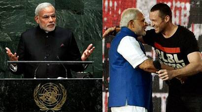 Narendra Modi addresses UN, meets Hugh Jackman in New York