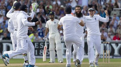 India's top order fell yet again to part-time off-spinner Moeen Ali, who finished with figures of 4/39 in the second innings and took his series tally to 19 wickets (Source: AP)