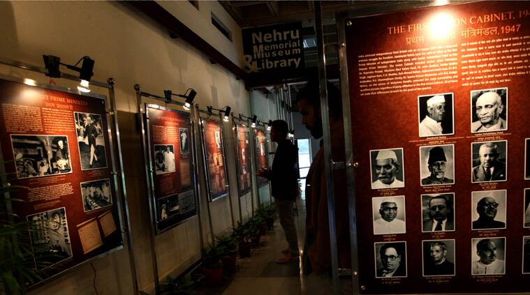 The ongoing exhibition, 'Nehru's First Cabinet' outside Teen Murti Auditorium, is open on all weekdays from 10am to 5pm. (Source: Express photo by Renuka Puri)