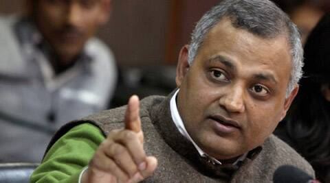 Law Minister Somnath Bharti at Delhi Secretariat.
