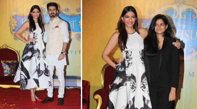 'Khoobsurat' Sonam Kapoor, Rhea step out in black and white