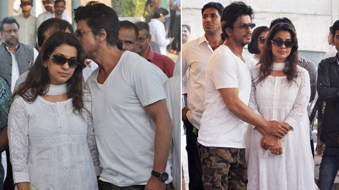 Shah Rukh Khan at the funeral of Juhi Chawla's brother Bobby Chawla