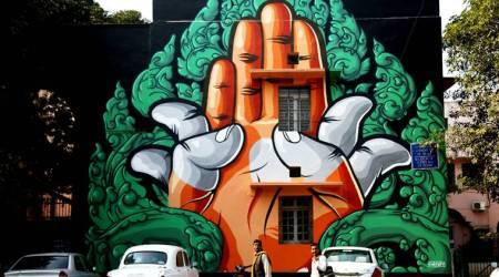 graffiti, muralists, murals, graffiti art, Lodhi Road, Delhi Street Art, gallery, paintings, Lodhi Road, Lodhi Road market, Indian express news