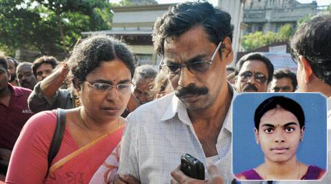 Parents of 24-year-old Parchuri Swathi, who died in the blast in a train, at a government hospital in Chennai on Thursday.