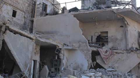 Syrian government warplanes struck an eastern city, killing 12 people.