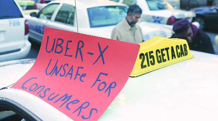 Taxi drivers protest Uber services in Pennsylvania in Oct.(Source: AP)
