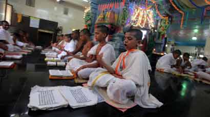 Students perform Vedas on Sankara Jayanti