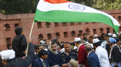 Delhi chief minister Arvind Kejriwal and his supporters launched a sit-in against the city police on Monday, creating traffic chaos and a standoff. (Reuters)