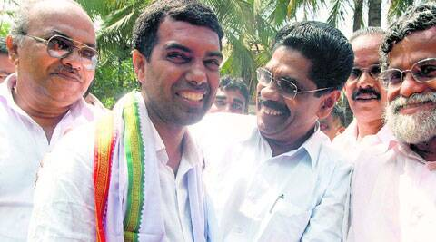 Kerala Congress legislator Abdullakutty (left) along with Mullappally Ramachandran. (Express Archive)