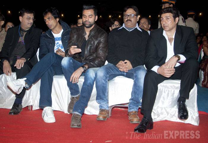 Actors Sonu Sood, Abhay Deol and Sunny Deol sit together. (IE Photo: Varinder Chawla)