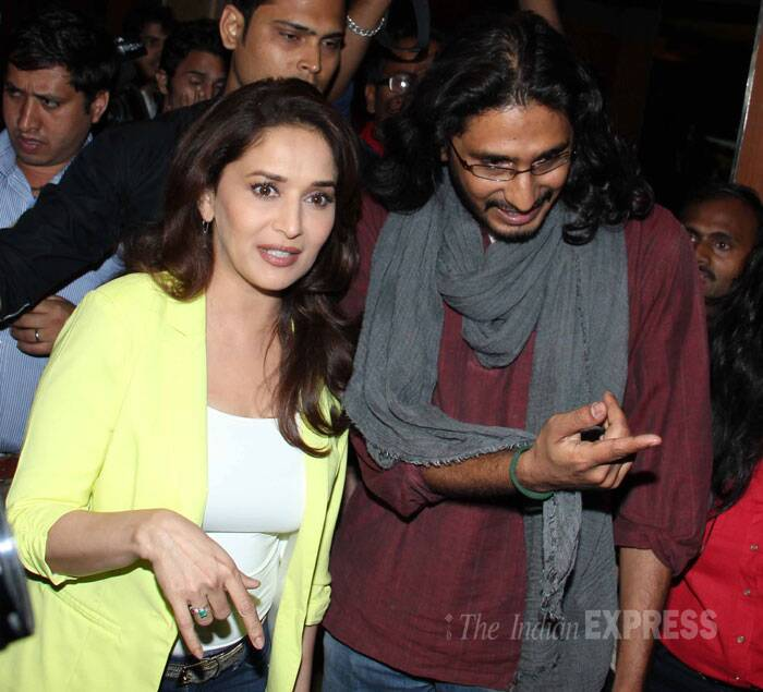 Madhuri and Abhishek were swarmed by their fans. (Photo: Varinder Chawla)