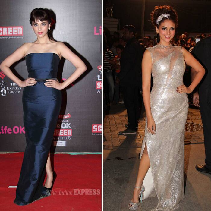 <b>Aditi Rao hydari</b>: Aditi Rao Hydari is a new hit on the fashion scene and she impressed with a blue strapless Harsh Harsh gown. And her hairstyle was an ode to Audrey Hepburn. <br />Next she wore a Gaurav Gupta couture gown and had an updo with a beaded silver head-band and metallic silver sandals.