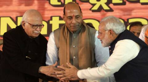 L K Advani praised Modi for his track record in governance in Gujarat as well as the crowds his rallies attract. (IE Photo: Amit Mehra)