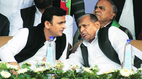 UP Chief Minister Akhilesh Yadav with father and party chief Mulayam Singh Yadav at Varanasi rally, Thursday. Express
