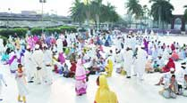 Bawoodi Bohra community members in Ahmedabad on Friday. 	Express